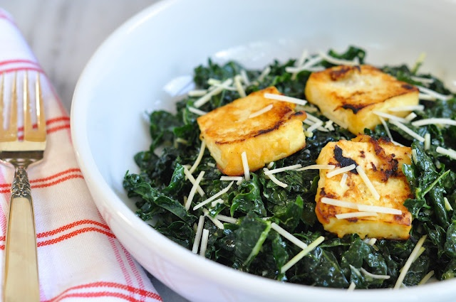 miso kale salad with miso roasted tofu
