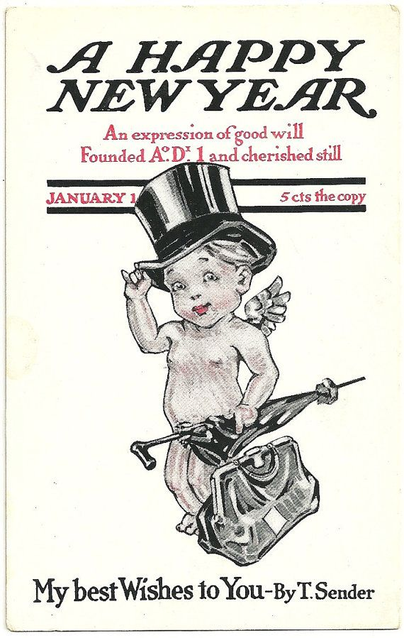 vintage new years eve food postcards