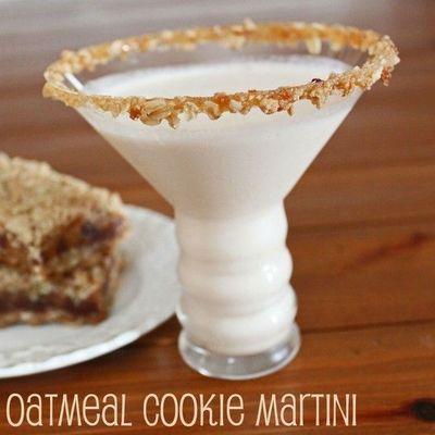 ... caramel sauce oatmeal cookies, crushed Rim a martini glass in caramel