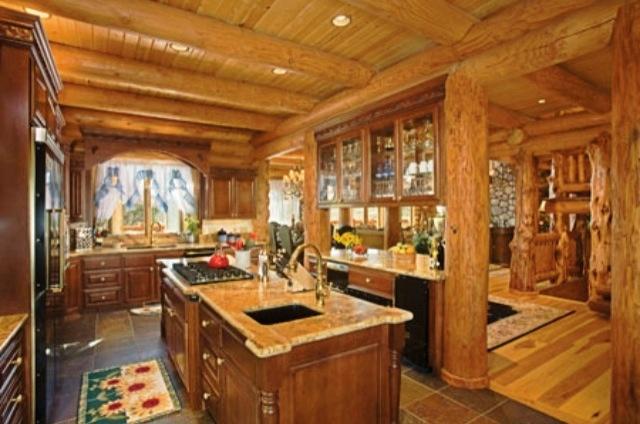 Log cabin kitchen my dream home kitchen dining area for Log cabin kitchen islands