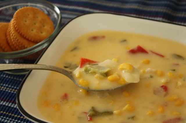 Corn and Cheese Chowder - Looking at the picture and reading the ...