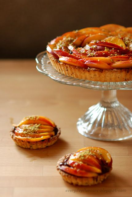EVERYDAY FLAVOURS: TART nectarines, pistachios and chocolate mousse.