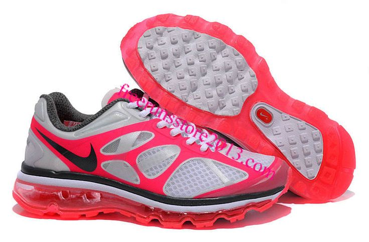 Womens Nike Air Max 2012 White Pink Flash Silver Dark Grey Shoes, Pink