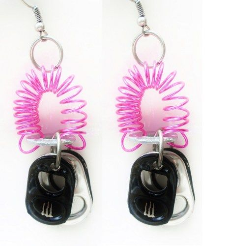 Pop Tab Earrings Monster Energy Recycled Jewelry Earth Friendly $15.00
