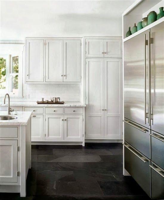 White Kitchen And Dark Floors: White Kitchen With Slate Black Floor