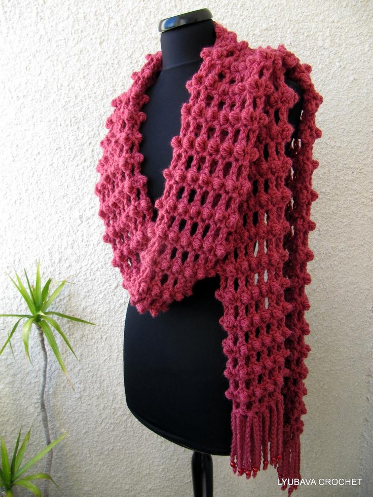 Crochet Long Scarf With Fringe, Trendy Crochet Fashion ...