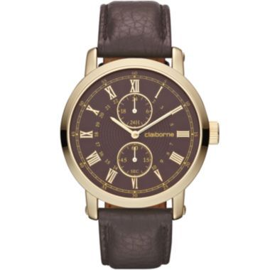 claiborne mens brown leather gold tone