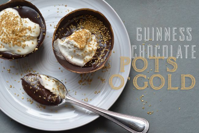 Guinness Chocolate Pudding Pot's o' Gold for St. Patrick's Day!