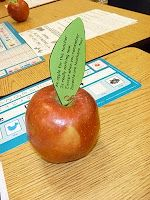 "Give these out at our first parent-teacher conference of the school year.  Poem reads:  ""An apple for the teacher is really nothing new, except when you remember parents are teachers too.""  Parents just love them! - Back to School Night?"
