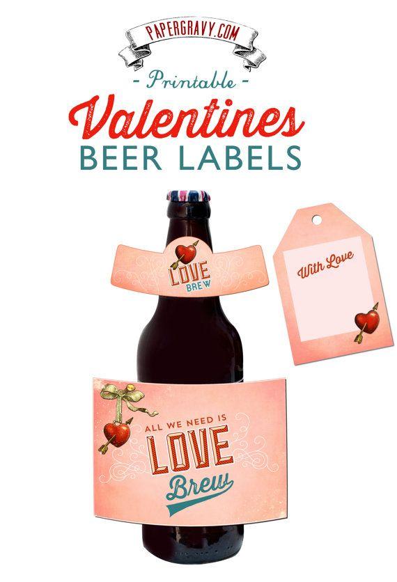 valentine printable beer labels