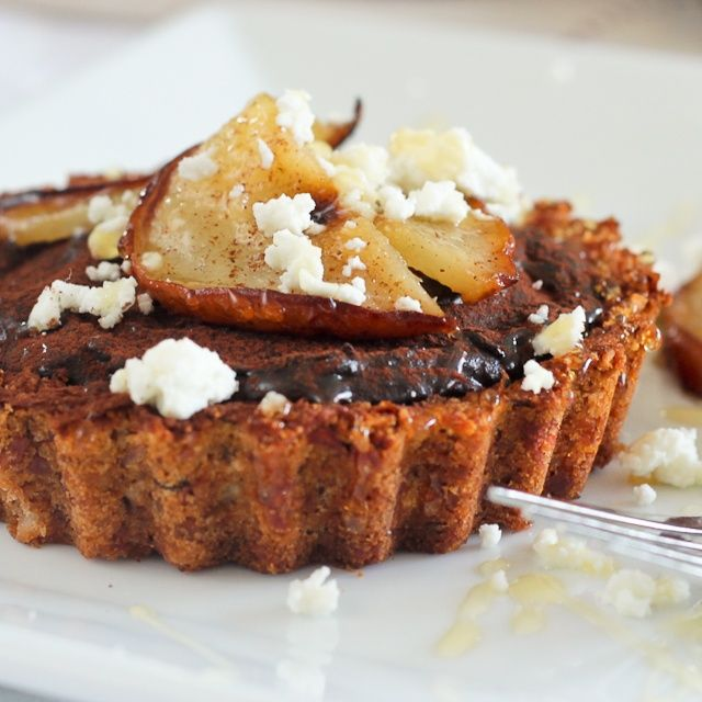 ... super healthy Caramelized Pears, Goat Cheese and Chocolate Tartlets