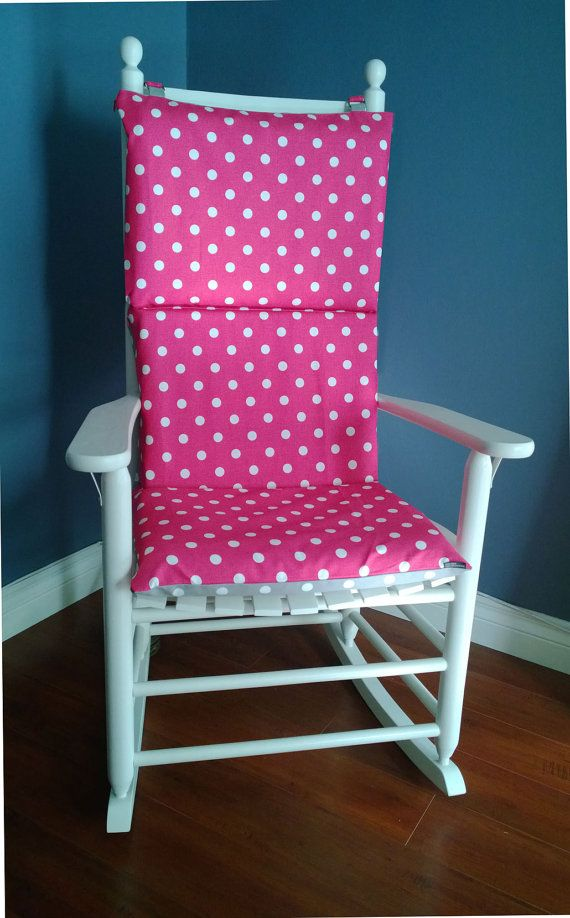 Rocking Chair Cushion Pink Grey Polka Dot