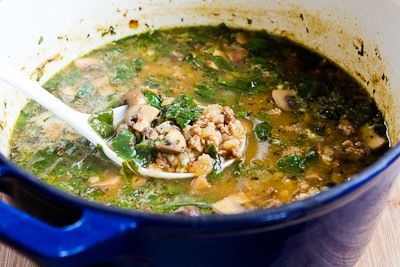 ... Recipe for Ground Turkey and Barley Soup with Mushrooms and Spinach
