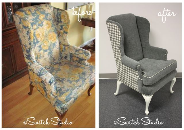 Oakville reupholster wingback chair grey houndstooth fabric