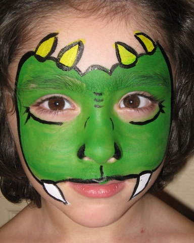 Dinosaur face paint | Face Paint Inspiration | Pinterest