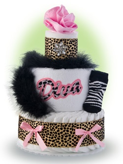 "Don't all little girls have a lil' diva in them? They are cute and want lots of attention, and when they speak they will make sure you hear them. Our 3 tier diaper cakes says ""look at me""! Only $65.00"