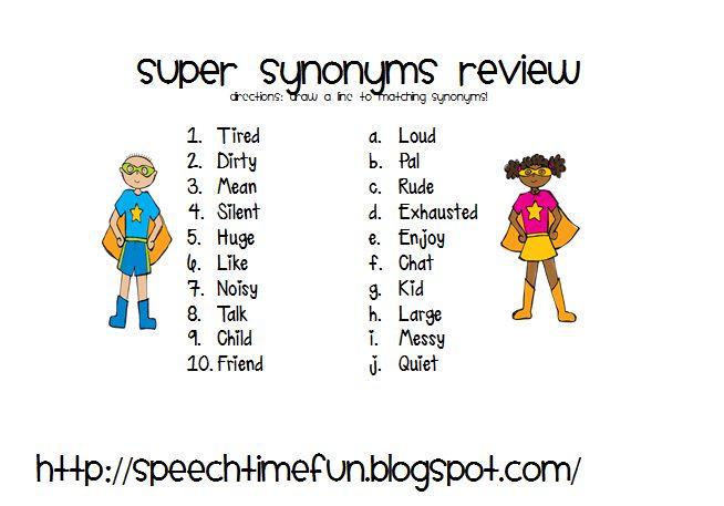 synonym homework activities