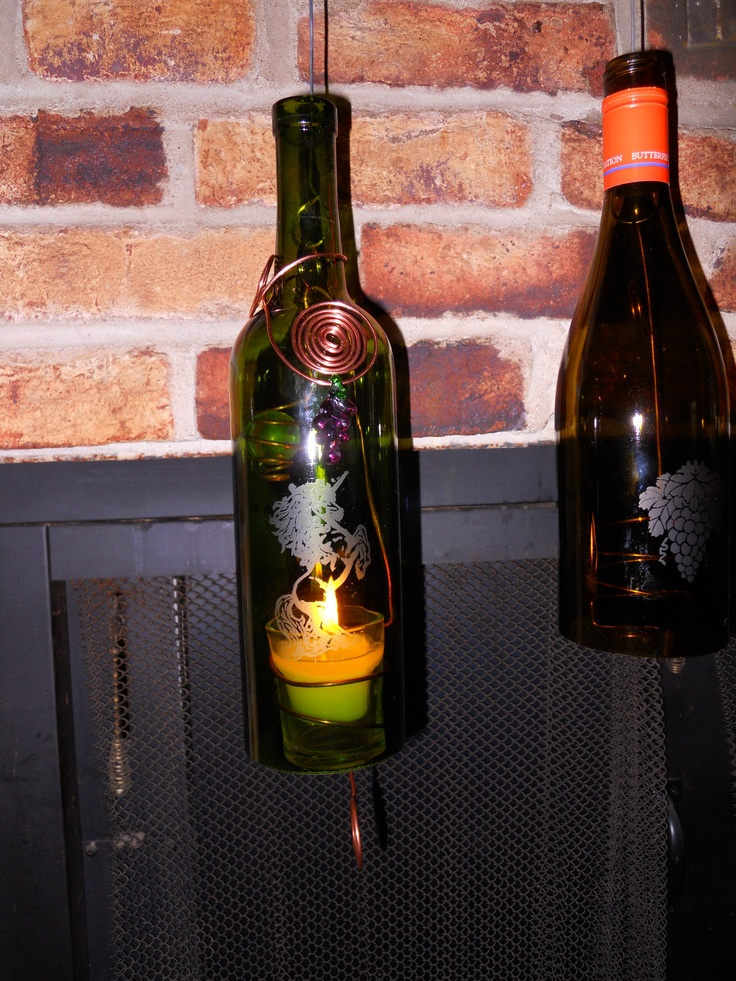 Two more wine bottle candle holders hanging bottles for Champagne bottle candle holders