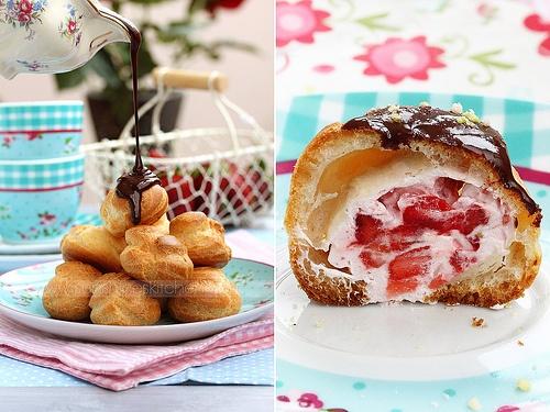 Strawberry cream puffs | Food / Drink | Pinterest