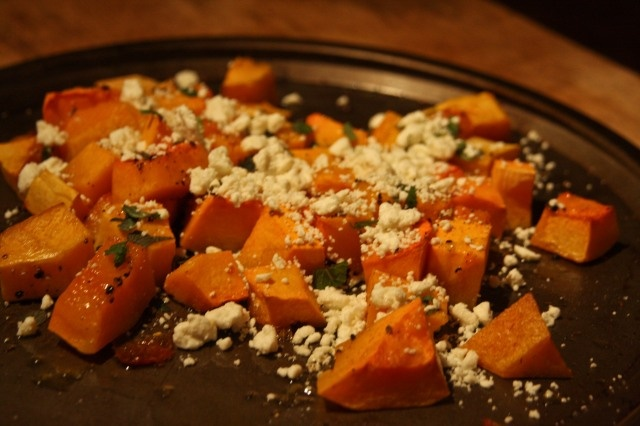 Winter roasted butternut squash with fresh mint and crumbled feta ...