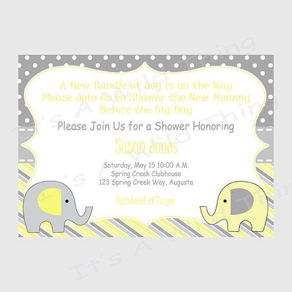 gender neutral elephant printable baby shower invitation