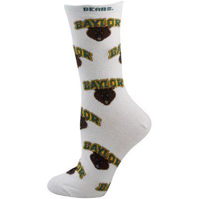 #Baylor Bears Ladies White All-Over Logo Mid-Calf Socks // #SicEm
