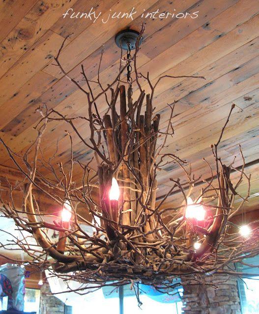 Rustic Handmade Light Fixture Twig Chandelier Branch: Twig And Branch Chandelier.