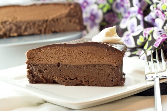Chocolate! Flourless cake with chocolate mousse and a chocolate glaze ...