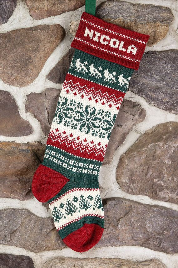 Knitted Christmas Stocking Patterns Personalized : Knit Personalized Christmas Stocking, snowflake