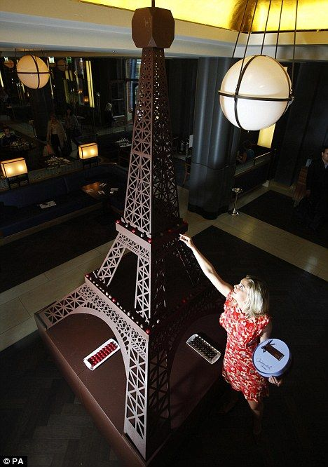 A 12ft-high model of the Eiffel Tower made of chocolate