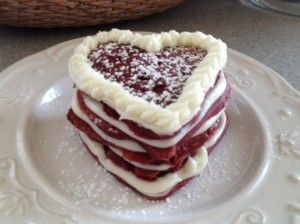 Gluten Free Red Velvet Pancakes w/ Cream Cheese Topping