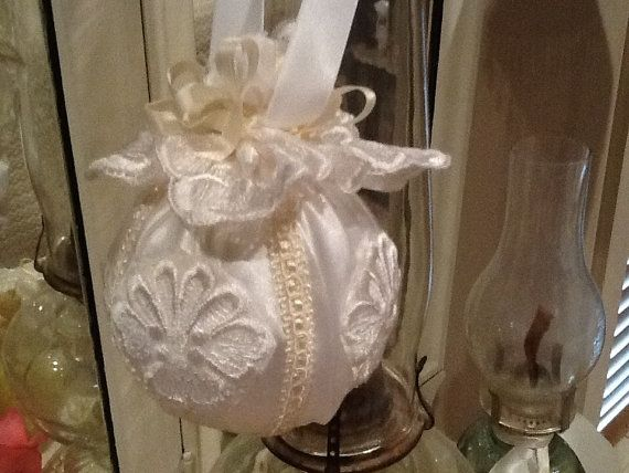 Handmade christmas ornament made from a vintage wedding gown 22 00