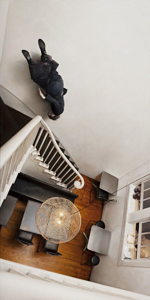 "Jeremy Geddes ""Cafe"". Hyper-realistic painting. Whoa."
