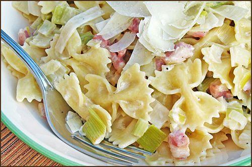 Farfalle with Pancetta and Leeks | Comidas lindas e deliciosas | Pint ...