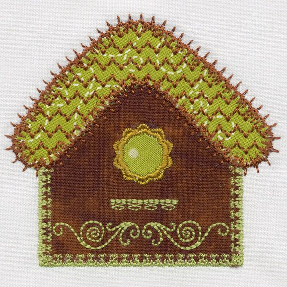 Bird house single applique machine embroidery design