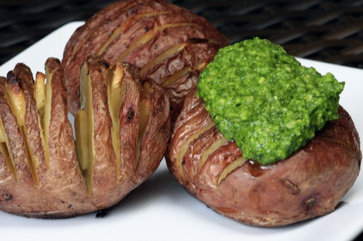 Hasselback Potatoes with Spinach Cashew Pesto