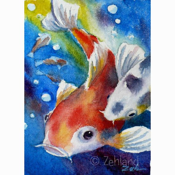 Koi fish print 10x8 watercolor wall art by janet zeh for Koi fish art print