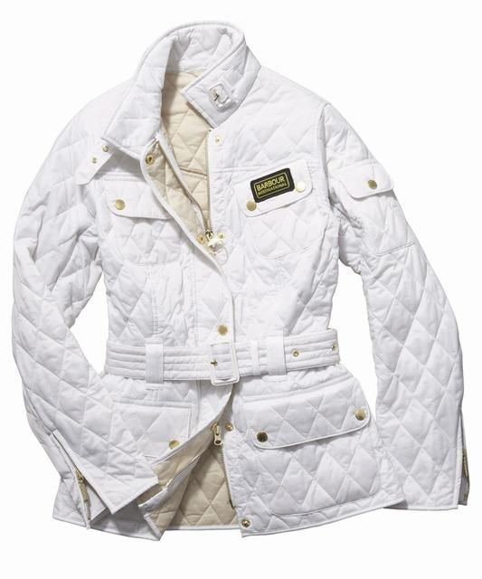Womens Barbour International Quilted Jacket- White | Pearl