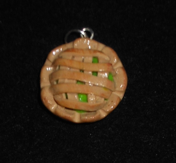 Granny Smith Apple Pie Charm  Handmade clay charm  available on face book - https://www.facebook.com/HmsPrettyLittleJewels