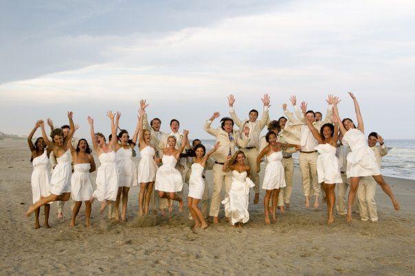 white bridesmaid dresses - beach wedding