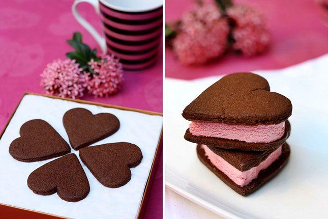 ... cookie recipe and ice cream.....valentine ice cream sandwiches