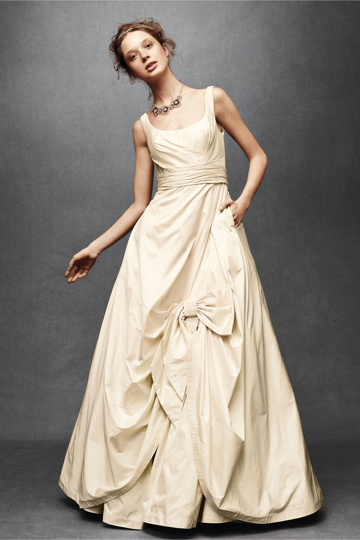 cream wedding dress bow accent pockets wedding dresses pinterest