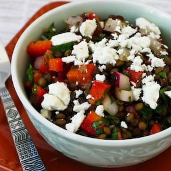 ... Lentil and Red Pepper Salad Recipe with Red Onion, Mint, and Feta