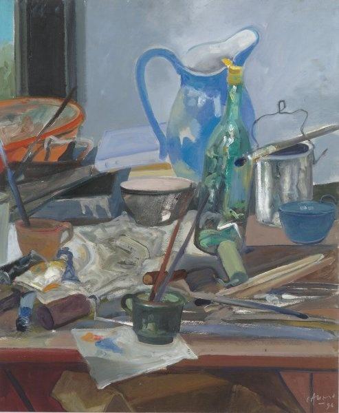 """Carlos Alonso, """"Mesa de trabajo"""" óleo 70 x 55 cm."""