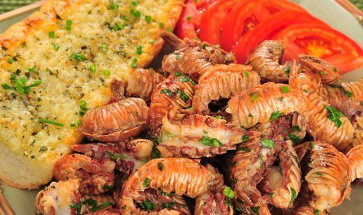 Garlic Roasted Peel-and-Eat Rock Shrimp | Seafood | Pinterest