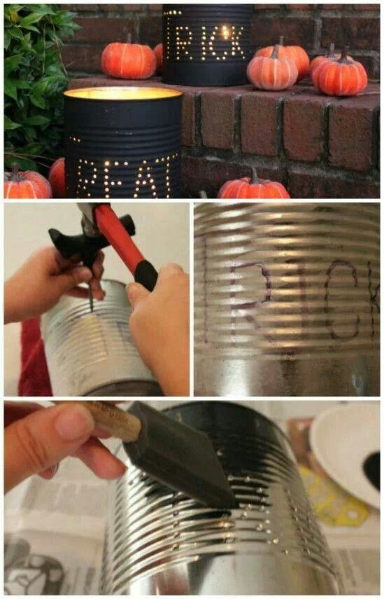 tin can lanterns... remember doing something like this when we were kids. Your Halloween/Trick or Treaters will love this as they walk up to get candy!