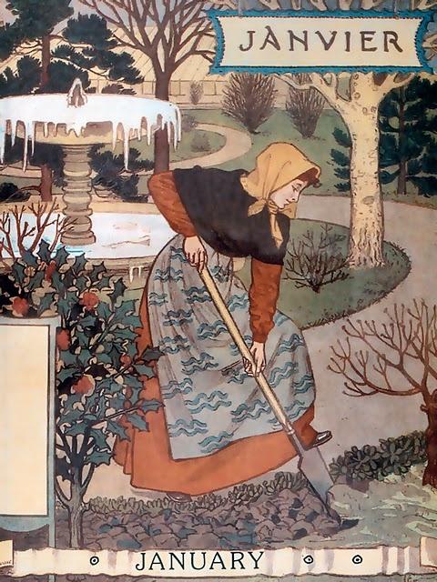 "January, Eugène GRASSET Calendrier ""La Belle Jardinière"" 1896"