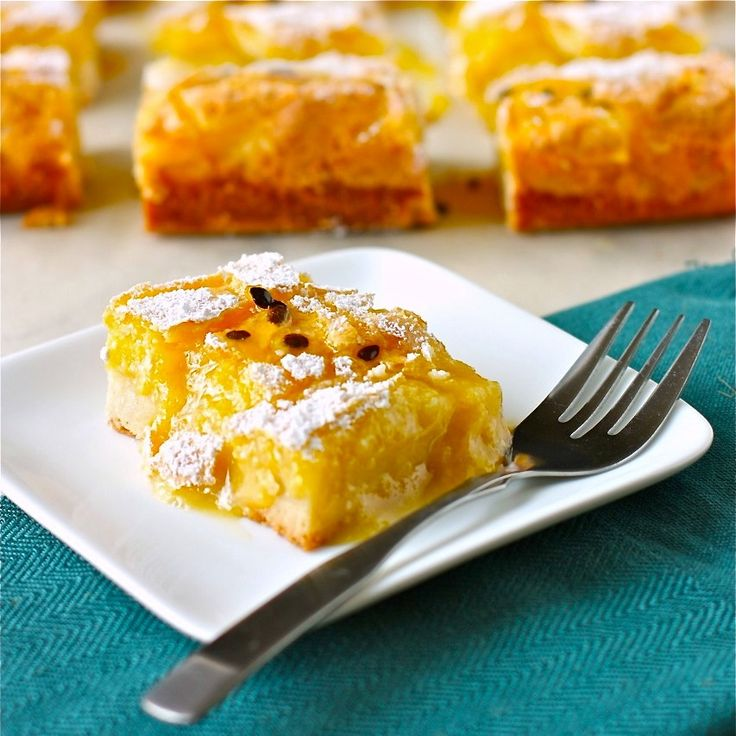 glazed passion fruit bars; a thick, buttery shortbread crust and ...