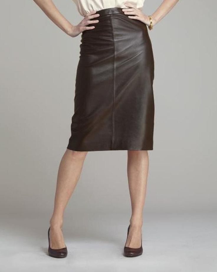 brown leather pencil skirt fashion