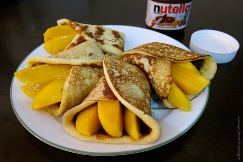 Red + Black Apron • Nutella and Mango Crepes